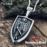 MENDEL Mens Archangel St Saint Michael Medal Pendant Necklace Stainless Steel