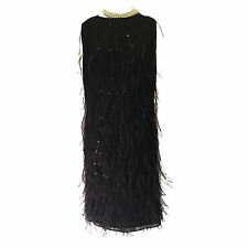 St John Couture Silk Dress Sheath Adorned in Beads & Feathers | Black -  Siz 10
