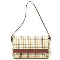 Authentic Burberry Canvas Leather Shoulder Hand Bag Beige Red Gold Plaid