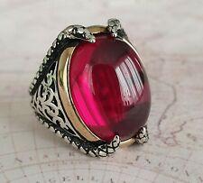 Ottoman Red Garnet  Gemstone Solid 925 Sterling Silver Mens Ring Gemstone 18 gr