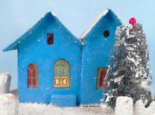 Vintage Christmas House Train Yard Putz Blue Red Roof Glitter Japan Large #55