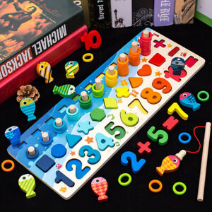 Wooden Toys Montessori Educational Children Busy Board Math Fishing Geometry Kit