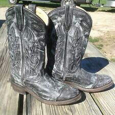 Women's 6 black/white distressed Double-H/Sonora Leather Western Cowboy Boots.