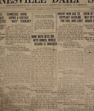 1920 Vintage Newspaper Page - Babe Ruth Breaks Season HR World Record with #46