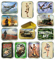 MILLITARY 2oz GOLD TOBACCO TIN,STASH CAN,STORAGE TIN,12 DESIGNS TO CHOOSE FROM
