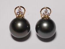 11mm Tahitian black pearl earrings, diamonds, solid 18k yellow gold.