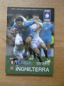 rugby programme italy v england 2014
