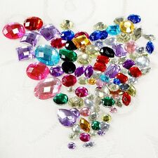 100pcs Assorted Beads Acrylic Rhinestones Gems Flat Back Sew on Art Craft Décor