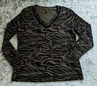 Dana Buchman Animal Print Long Sleeve V- Neck Blouse XL Brown Black