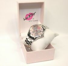 Betsey Johnson Luv Betsey Women's BL00006-01 Ribbon Bow Pink Silver Watch New