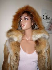 Genuine Vintage Natural Red Fox Real Fur Coat Jacket Hood Mink Sable Лиса 8 - 10