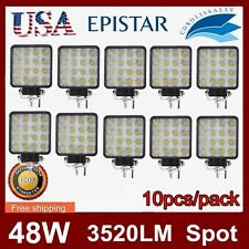 10pcs 48W LED Work Light Fog Driving Lamp Offroad Truck Spot Beam Square 12V 24V