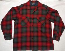 Vtg Pendleton Shadow Plaid Virgin Wool Button Shirt Mens Sz large Red blue green