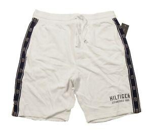 Tommy Hilfiger Sleepwear Men's White Logo Tape Lounge Sleep Shorts