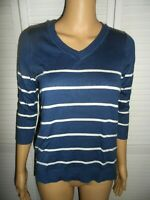 Pretty Pink Republic size S blue white stripe 3/4 sleeve sweater juniors NWT