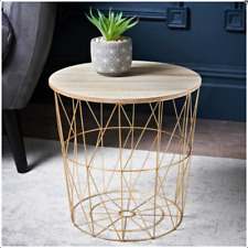 Tromso Contemporary Metal Wire Round Wood Top Basket Coffee / Side Table - GOLD