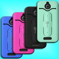 For HTC Desire 510 - Dual Layer Hybrid Kickstand Rugged Hard and Soft Cover Case