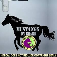 Mustangs On Board Decal Sticker Caution Mustang Horse Trailer Back Door Sign Blk
