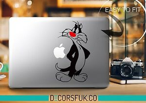 Funny Sylvester Cartoon MacBook Sticker  | Laptop vinyl sticker | Disney Decal