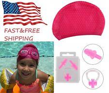 Silicone Swim Pool Hat Swimming Cap/Nose Clip/Ear Plugs for Kids Women Girls USA