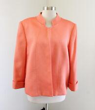 Tahari ASL Levine Peach Orange Blazer Jacket Size 18 Cuffed Sleeves