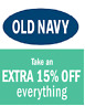Old Navy 15 % Coupon - COMBINES with Online DISCOUNT - Immediate Delivery!