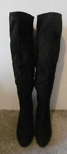 Wallis Black Suedette HOTTY Low Platform Heeled Long Boots Size UK 7 EU 40