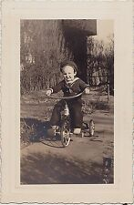 Vintage Antique Photograph Little Boy in Navy Sailor Outfit Riding Tricycle Bike
