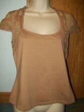 WD - NY Casual Top short sleeve shirt Dark Beige Large WD.NY blouse cap $50