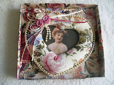 Decorated Heart Shaped Photo Frame With Material, Beads And Ribbons
