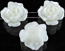 5 x Stunning Shiny Natural Pearl Acrylic Flower Shape Beads - 2 Row - lady-muck1