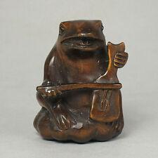 Japanese 1940's Wood Netsuke Boxwood Handicraft FROG MUSICIAN Carving WN208