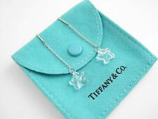 Tiffany & Co NEW MINT Peretti Silver Rock Crystal Star Dangle Earrings Studs