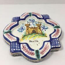 Spanish Handpainted Ceramic Ashtray Real Alcázar of Seville (Royal Castle) scene
