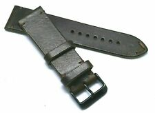 24mm Quality BROWN Genuine Leather Replacement Watch Strap Handmade Black Buckle