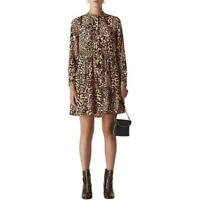 Whistles Leopard Printed Button Down Tunic Shirt Casual Mini Shift Dress 4 To 16