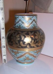 Antique Glass Vase Hand Painted Persian Morocco design blue and gold Bohemian ?