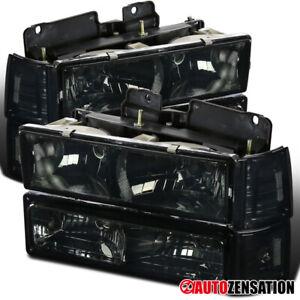 For 94-98 GMC C10 Sierra Yukon Suburban Smoke Headlights+Bumper+Corner Lamps