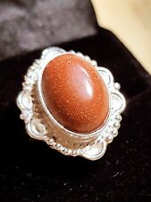SUN STONE STERLING SILVER SF Cabochon Setting LADYS RING SIZE 7 US