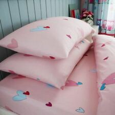 HEARTS SINGLE FITTED SHEET & PILLOWCASE SET BEDDING KIDS PINK