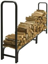 Firewood Rack 8 ft. Heavy Duty Tubular Steel Outdoor Classic Style Black Finish