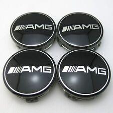 NEW 4X MERCEDES Benz AMG BLACK CENTER WHEEL Hub CAPS 75MM C E S ML GLK G SL CLK