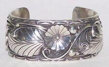 HUGE 55g Vintage Navajo Signed R Begay Sterling Silver Cuff Bracelet Flower Leaf