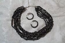 Honora Sterling Silver Multistrand Black Pearl Necklace & Matching Hoop Earrings