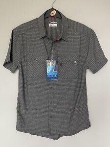 Men's Berghaus Explorer 3.0 Grey Striped Short Sleeved Shirt Top. Small 38in