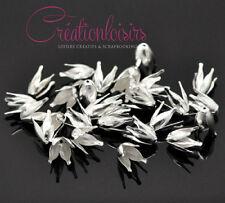 20 Perles Coupelles Fleur 4 Pétales couleur plaqué argent