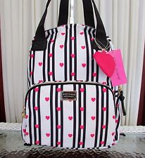 Betsey Johnson Hearts Stripes Backpack Tote School Travel Diaper Bag NWT