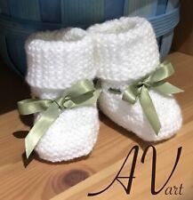 Newboarn Baby Boy Girl Crochet Knit White Green Booties Sock Shoes 0-3 Months