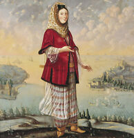 """perfact oil painting handpainted on canvas """"Armenian woman,buildings,sea""""@NO3608"""
