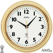 Ams 5964 Orologio da parete Radio Analogico ottone tondo con Vetro